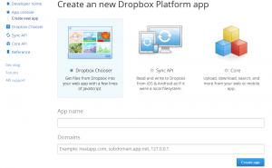 Dropbox app creation
