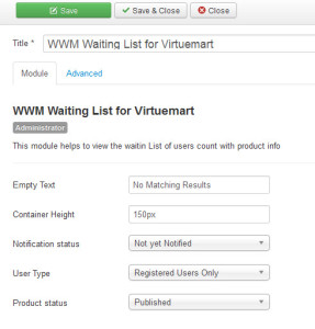 virtuemart waitlist module admin dashboard